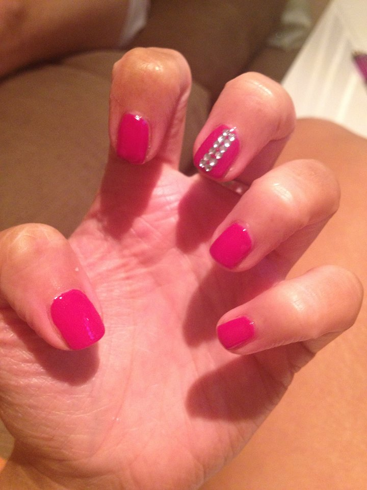 hot pink nails with diamonds-#13